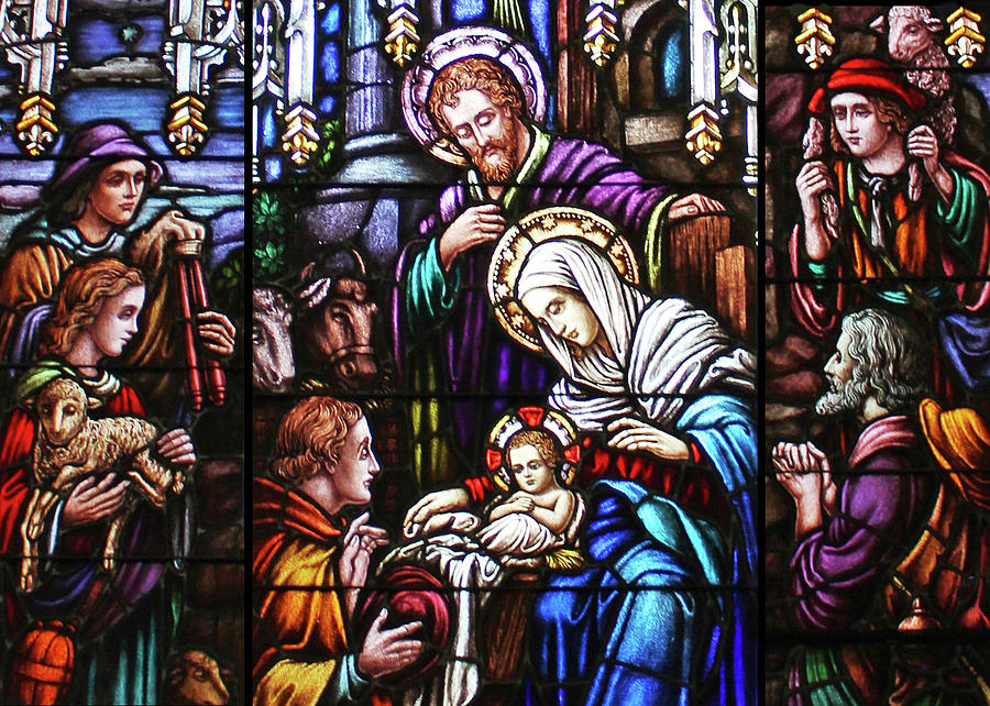 Stained Glass Nativity Scene Painting By Munir Alawi