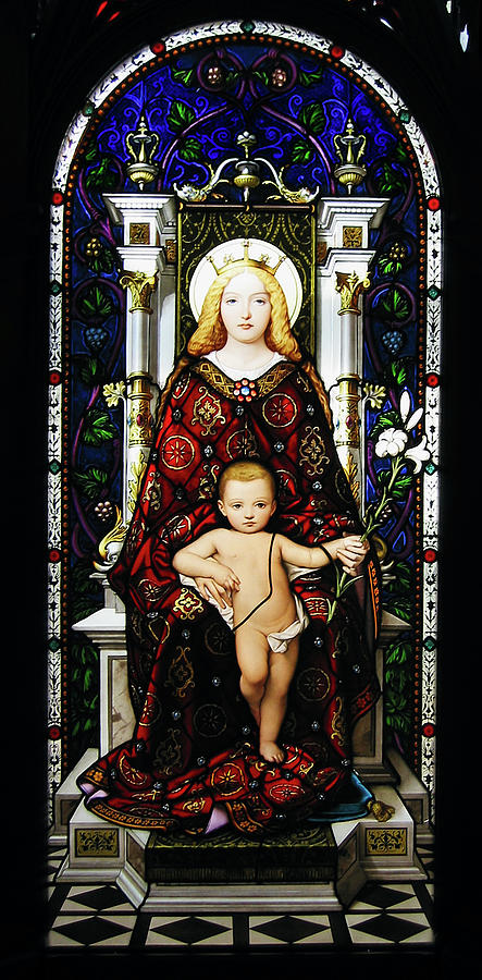 3scape Photos Photograph - Stained Glass Of Virgin Mary by Adam Romanowicz