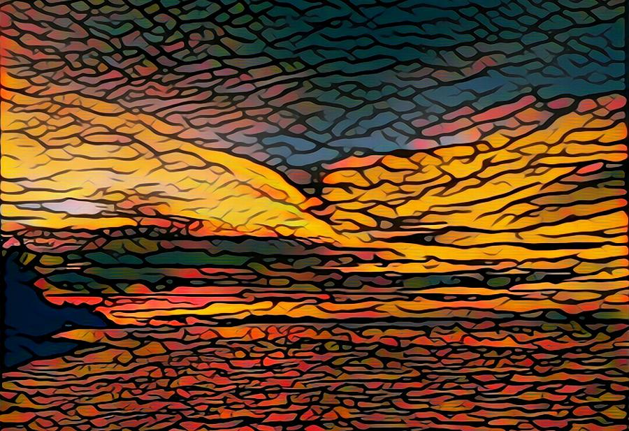 Stained Glass Digital Art - Stained Glass Sunset by Steven Robiner