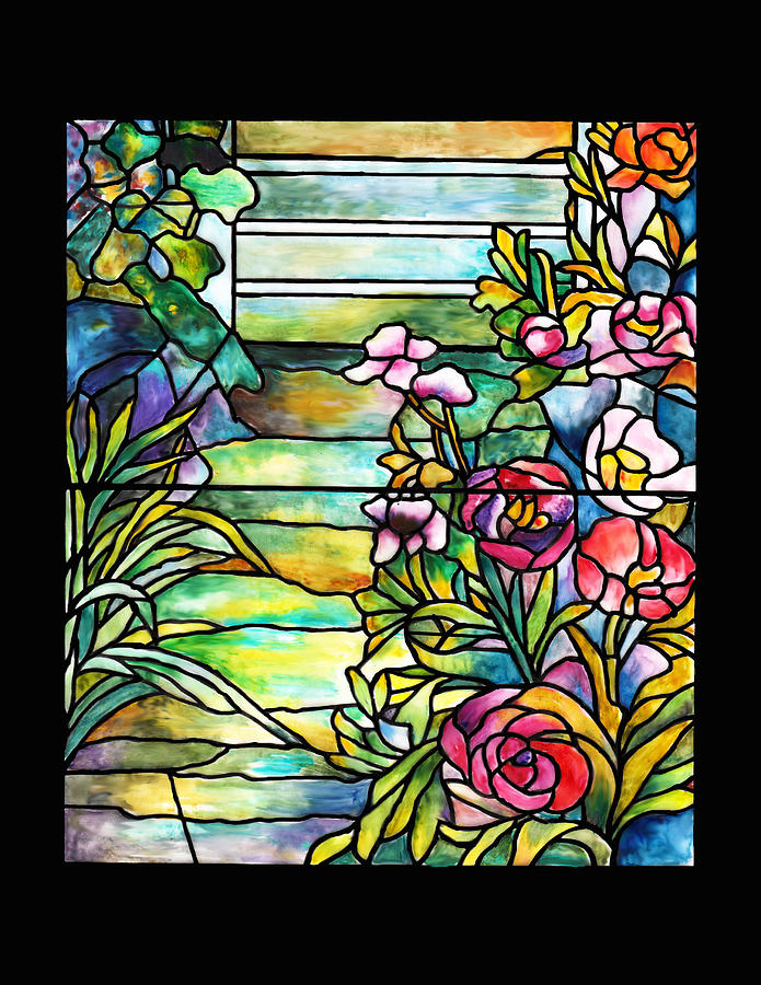 Stained Glass Tiffany Robert Mellon House Painting By Donna Walsh