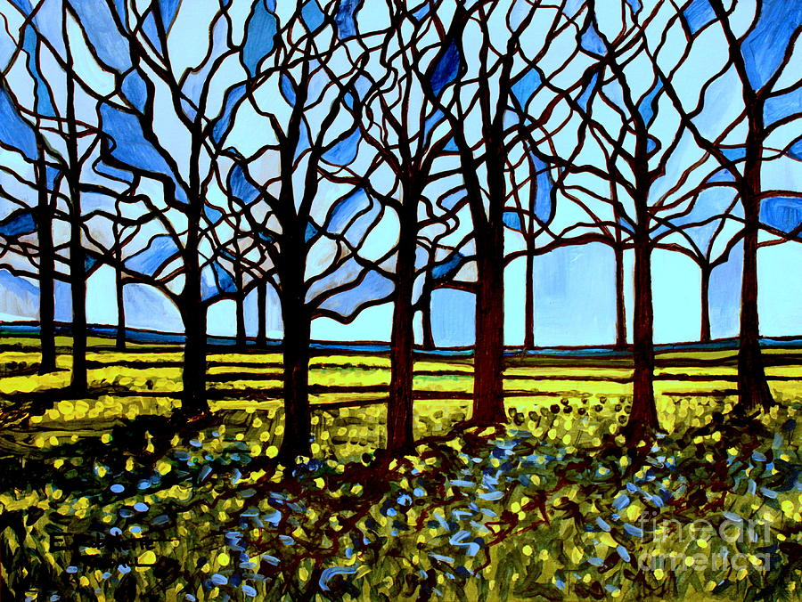 Blue Painting - Stained Glass Trees by Elizabeth Robinette Tyndall