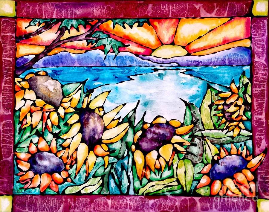 Sunflowers Painting - Stained Glass Watercolor Summer Sunflowers by Caitlin  Lodato