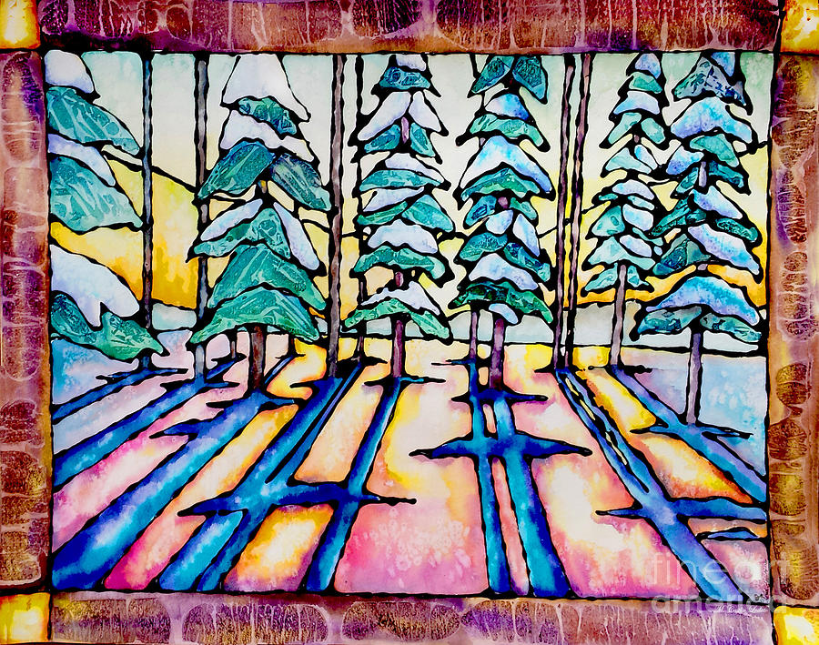 Pine Trees Painting - Stained Glass Watercolor Winter Pine Trees by Caitlin  Lodato