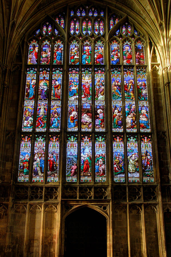 Stained Glass Photograph - Stained glass window at Gloucester Cathedral by Peggy Berger
