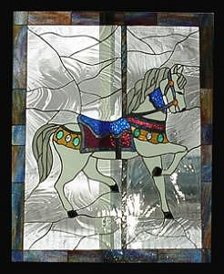 Stained Glass Window Carousel Horse No. 1 Original Glass Art by Phil And Brenda Petersen