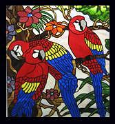 Vines Glass Art - Stained Glass Window Macaws by Phil And Brenda Petersen