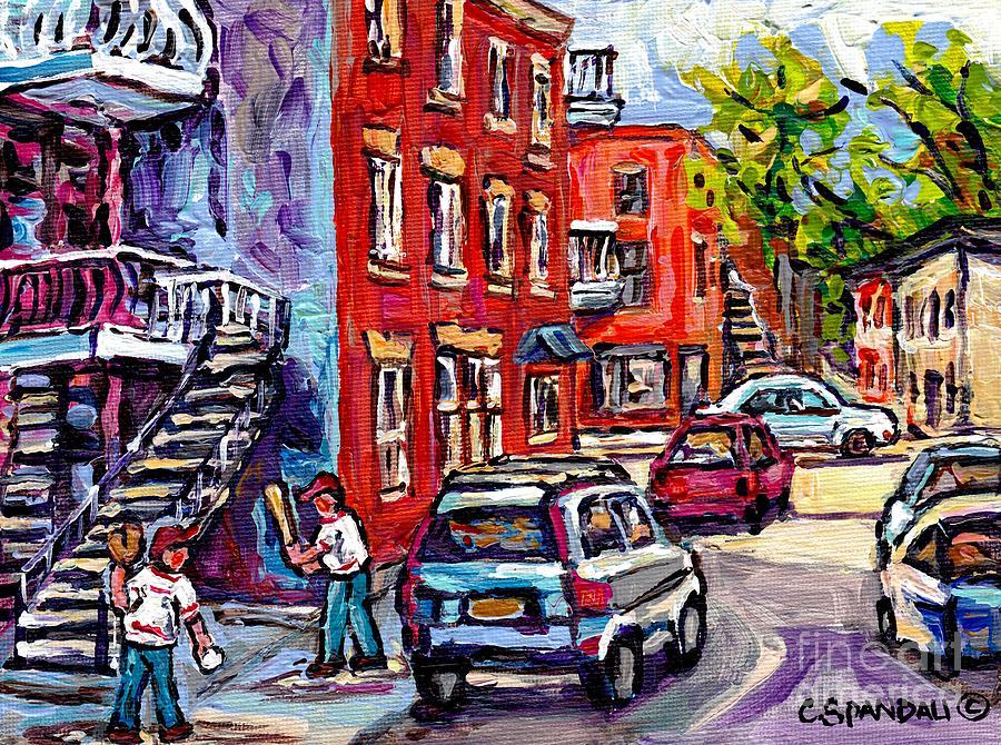 Staircase In Summer Sunlit Montreal Scene Kids Baseball Paintings Rue Panet  At Logan Best Street Art by Carole Spandau