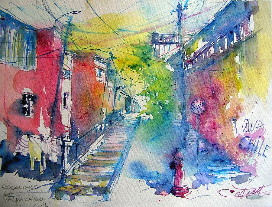 Watercolor Painting - stairs of Valparaiso  Chile by Christian Couteau