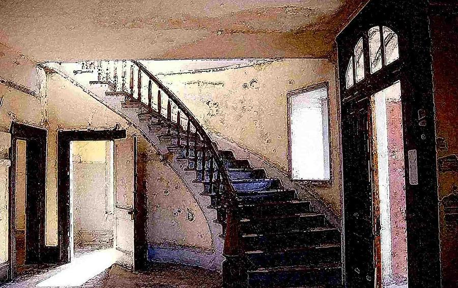 Bannack Photograph - Stairway -  Meade Hotel - Bannack Mt by Nelson Strong