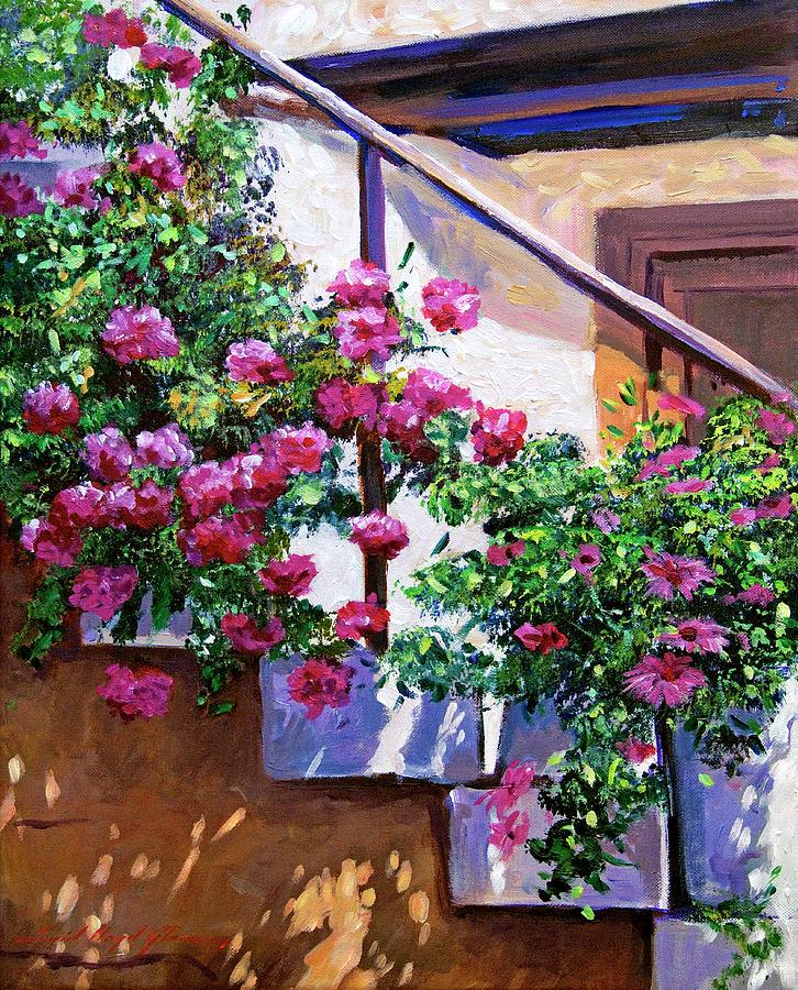 Plein Aire Painting - Stairway Floral Plein Air by David Lloyd Glover