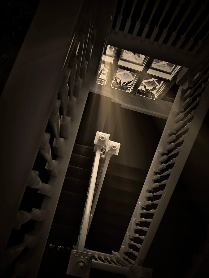 Old Photograph - Stairway Light, Redstone Castle, Colorado by Zayne Diamond Photographic