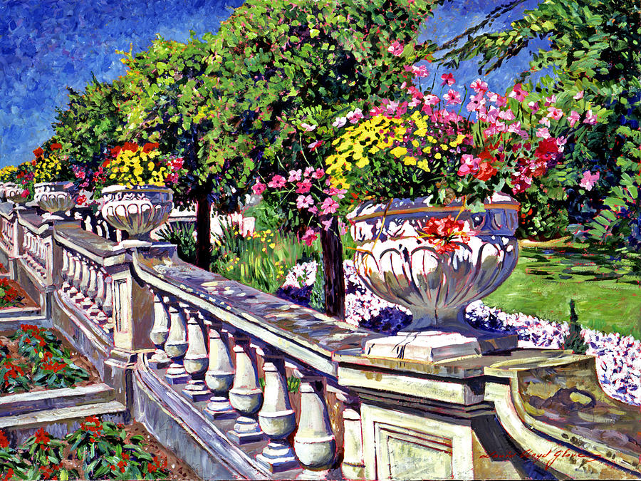 Flowers Painting - Stairway Of Urns by David Lloyd Glover