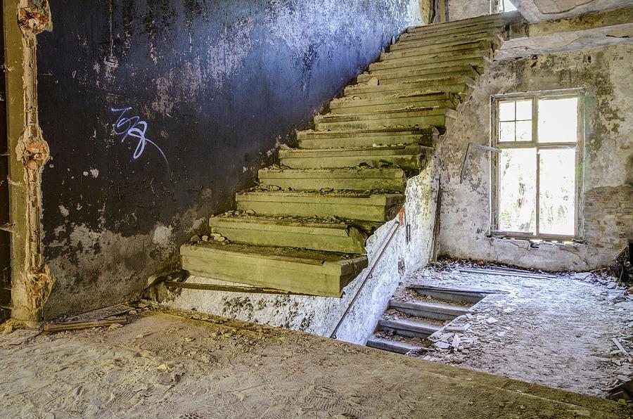 Sanatorium Photograph - Stairway To ..... by Marie Schleich