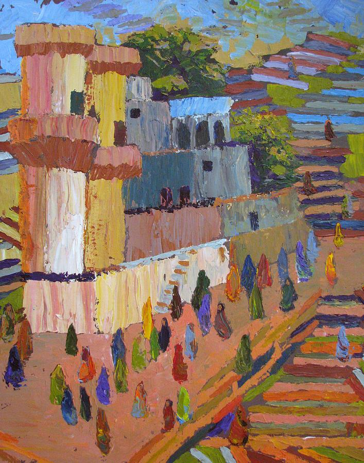 Stairs Painting - Stairway To Heaven Varanasi by Art Nomad Sandra  Hansen