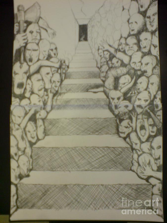 Stairway To Hell Drawing by Emma Croydon