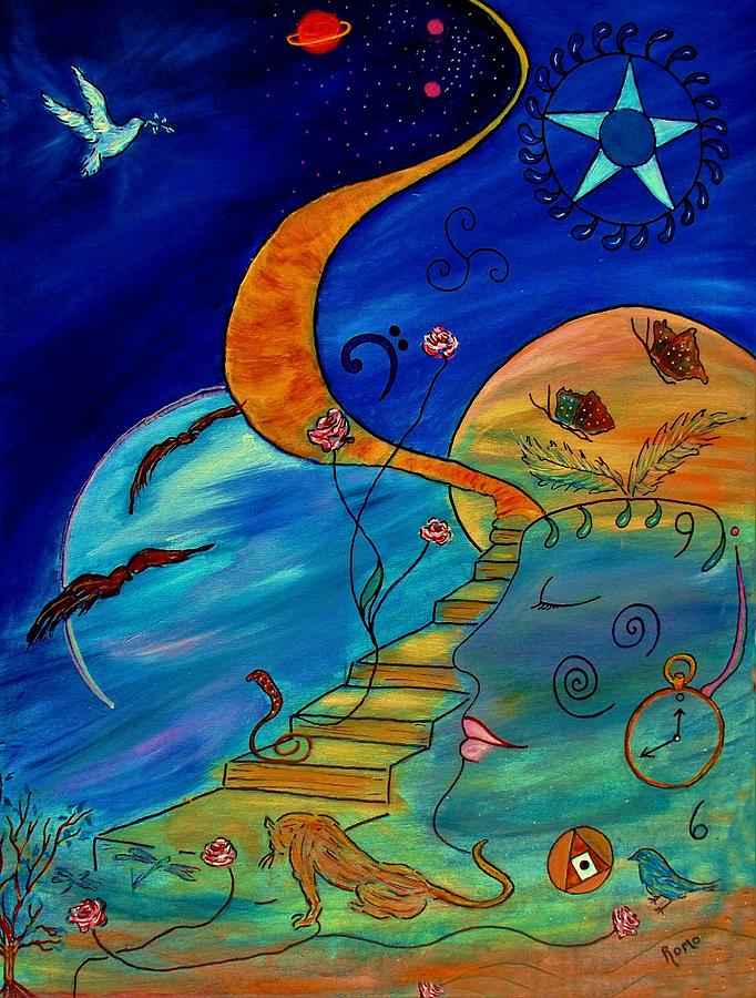 Symbolic Painting - Stairway To Nirvana by Robin Monroe