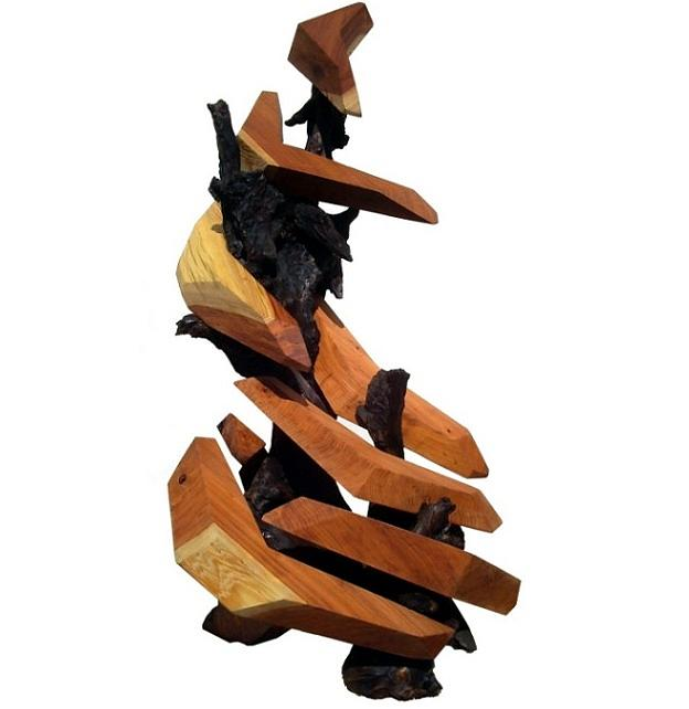 Wood Sculpture Sculpture - Stairway To Success by Daryl Stokes
