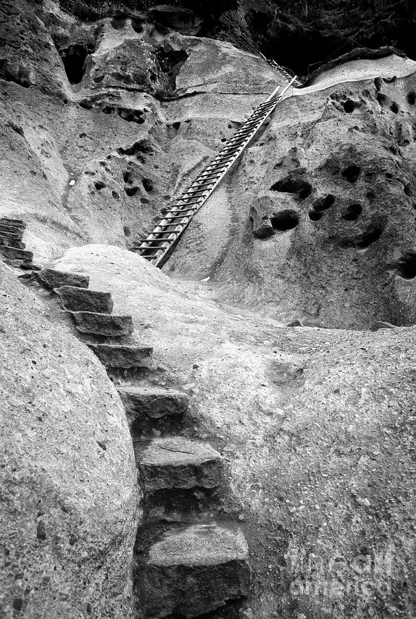B&w Photograph - Stairways To The Kiva by Sandra Bronstein