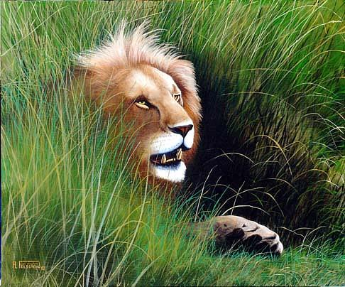 Lions Painting - Stalking His Prey by Al Feldstein