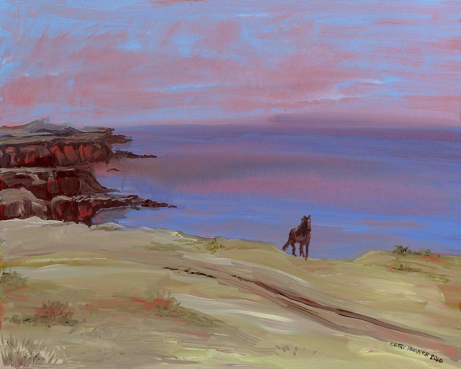 Seascape Painting - Stallion At Dingle Bay by Cathy France