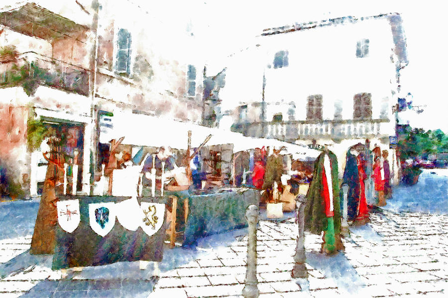 Stalls Painting - Stalls With Medieval Objects by Giuseppe Cocco