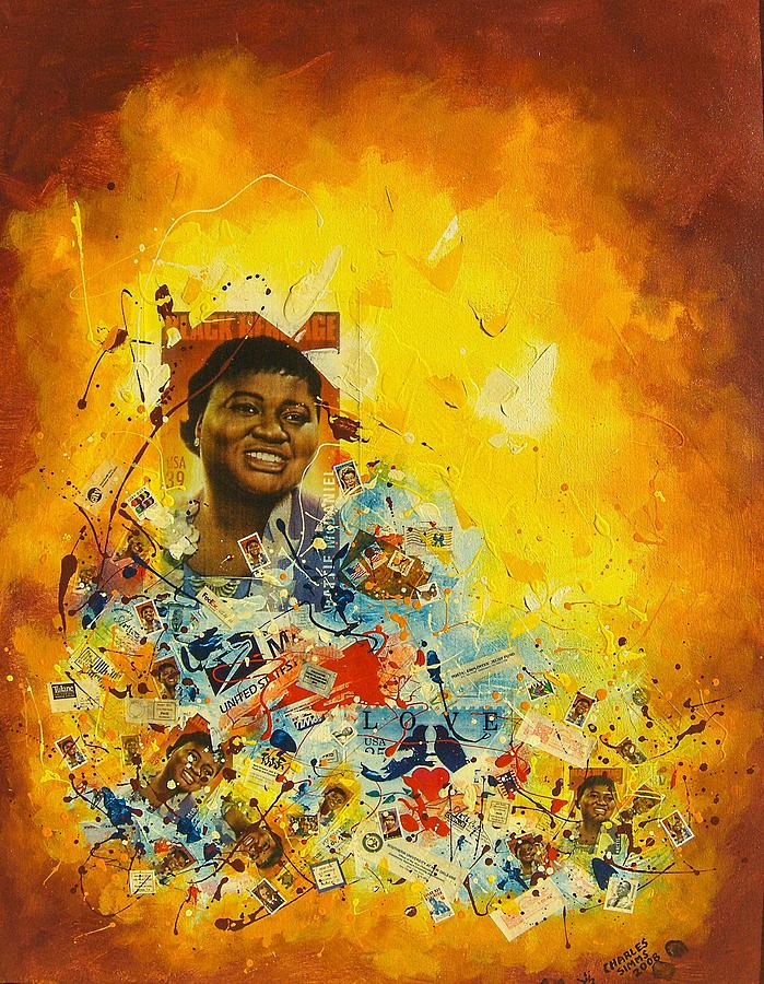 Painting - Stamp Collection Hattie Mcdaniel  by Charles Simms