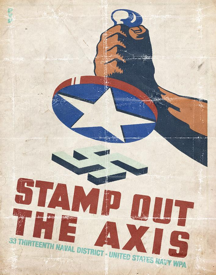 Vintage Poster Mixed Media - Stamp Out The Axis - Folded by Vintage Advertising Posters