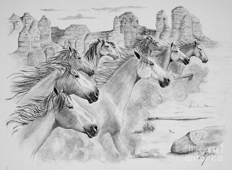 Mustangs Drawing - Stampede In Sedona by Joette Snyder