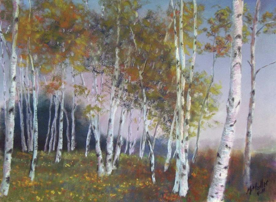 Stand Of Birch Trees Pastel By Marcus Moller