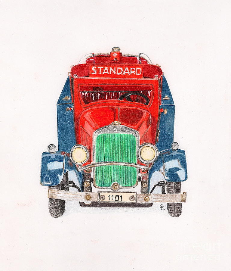 Drawing Drawing - Standard Oil Tanker by Glenda Zuckerman