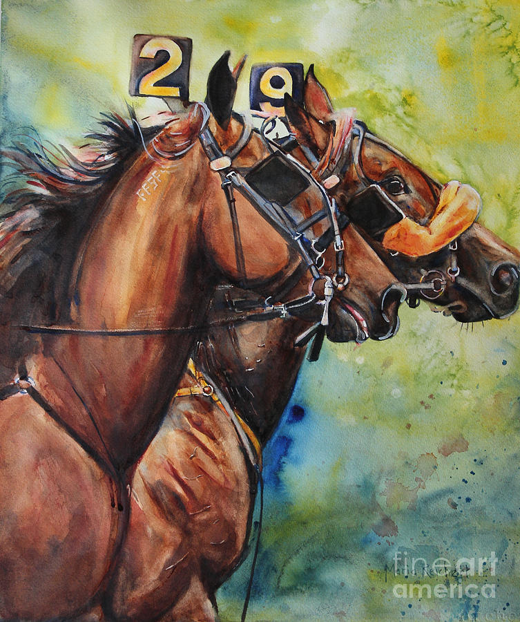 Standardbred Painting - Standardbred Trotter Pacer Painting by Maria Reichert