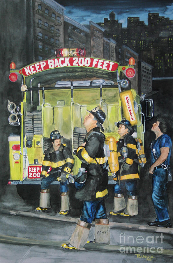 Fdny Painting - Standing Fast-engine 75 by Paul Walsh