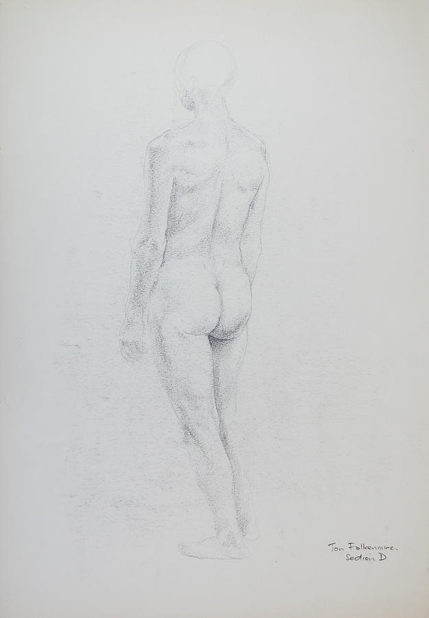 Standing Female, Bent Right Knee, Rear View. Student Work. Drawing