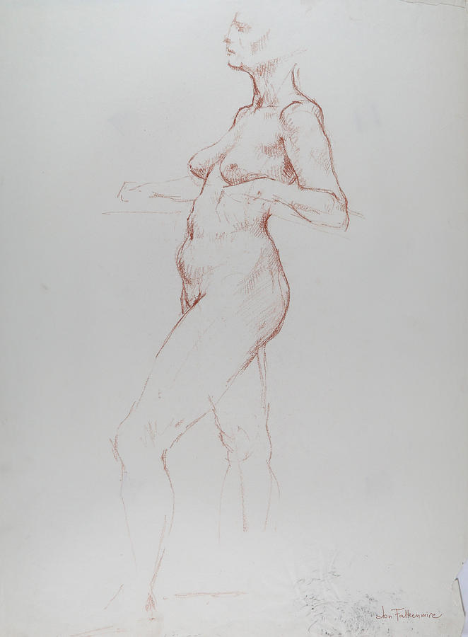 Standing Female, Leaning Back On Bent Elbows, Left Foot Forward, Student Work. Drawing