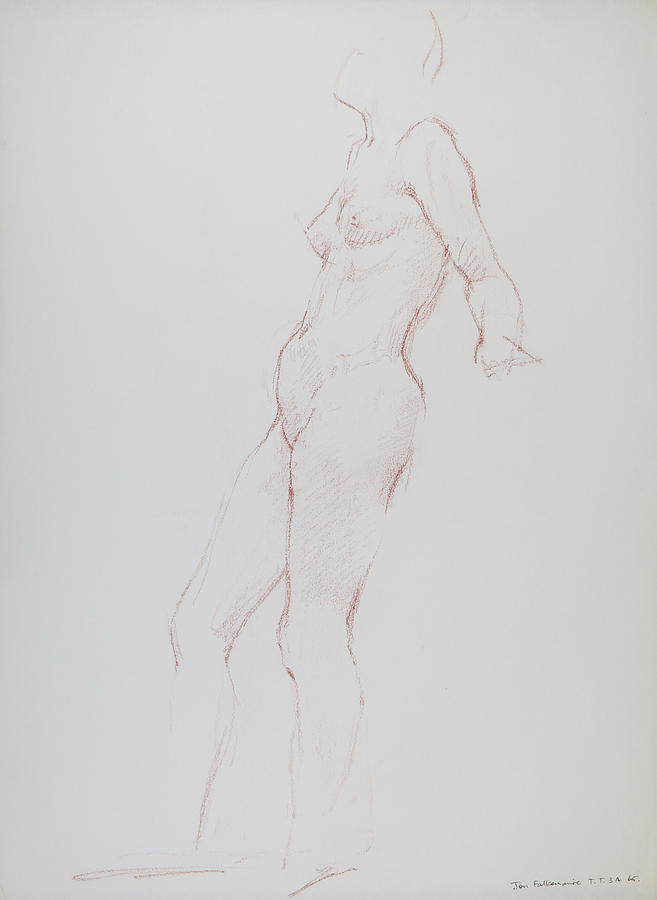 Standing Female Leaning Back, Resting On Left Arm, Student Work. Drawing
