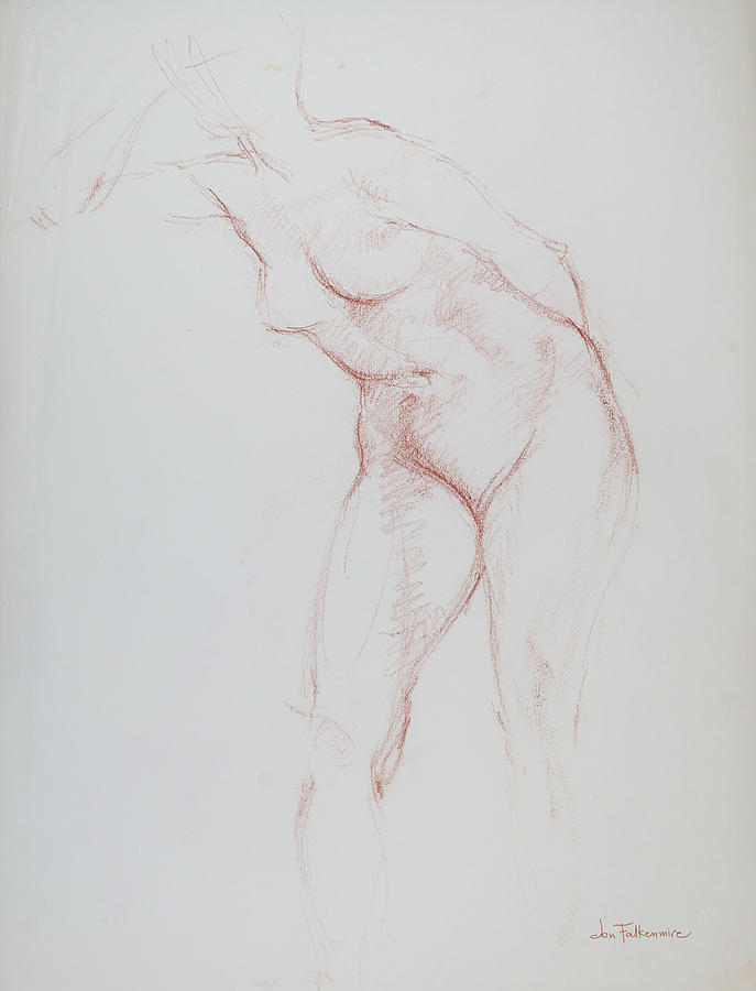 Standing Female Leaning In Raised Right Elbow Drawing