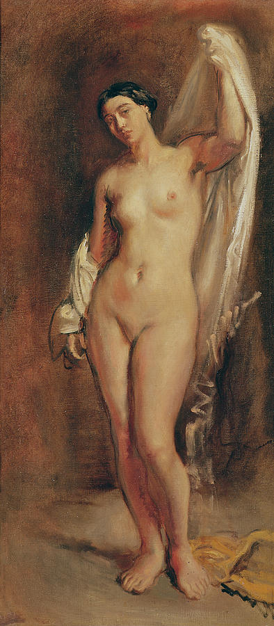 Standing Painting - Standing Female Nude by Theodore Chasseriau