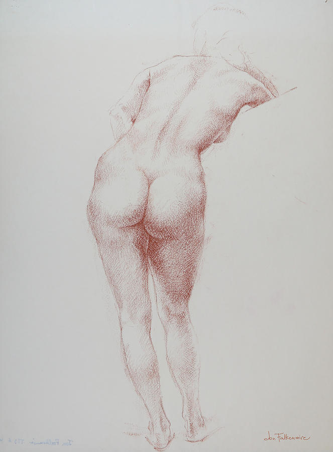Standing female, rear view, leaning on right elbow, student work. Drawing by Jon Falkenmire