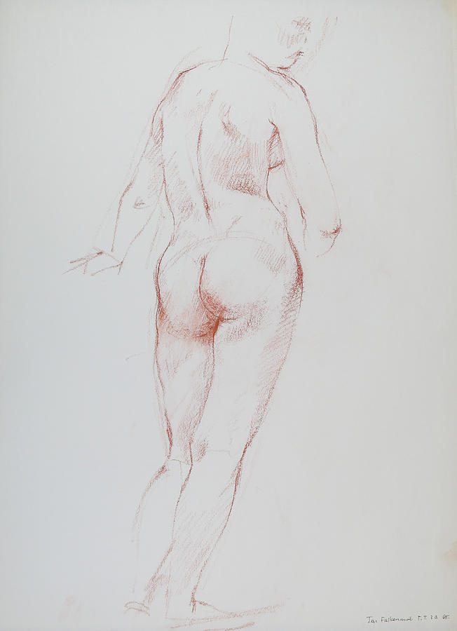 Standing Female, Swayed Hips, Rear View, Head Turned To Right, Student Work. Drawing