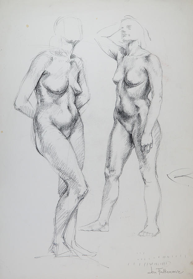 Standing Female, Two Poses, Student Work. Drawing