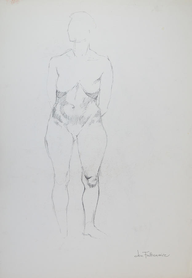 Standing Female, Unfinished, Student Work. Drawing