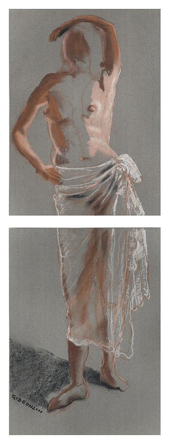 Drawing Drawing - Standing Figure-diptych by Gideon Cohn