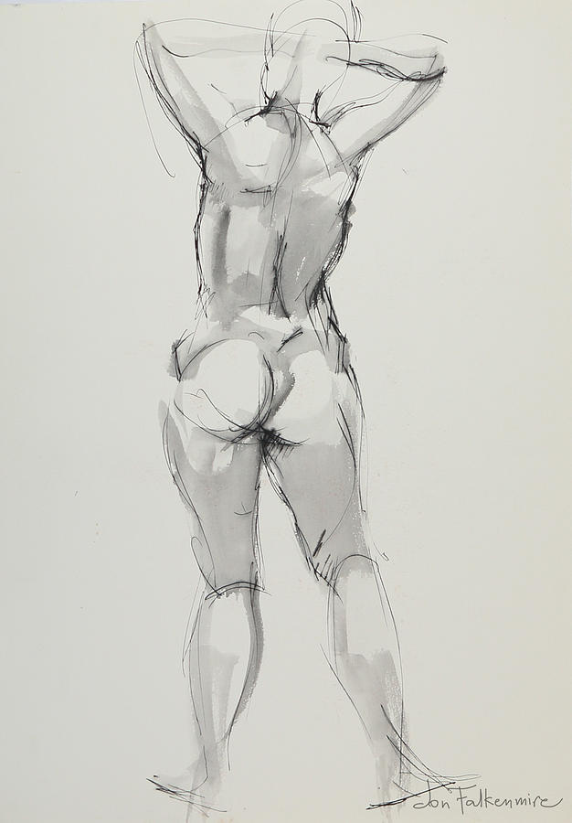 Standing Figure, Rear View, Hands On Head, Student Work. Drawing