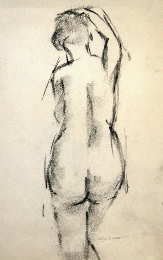 Figure Drawing Drawing - Standing Figure by Ujjagar Singh Wassan