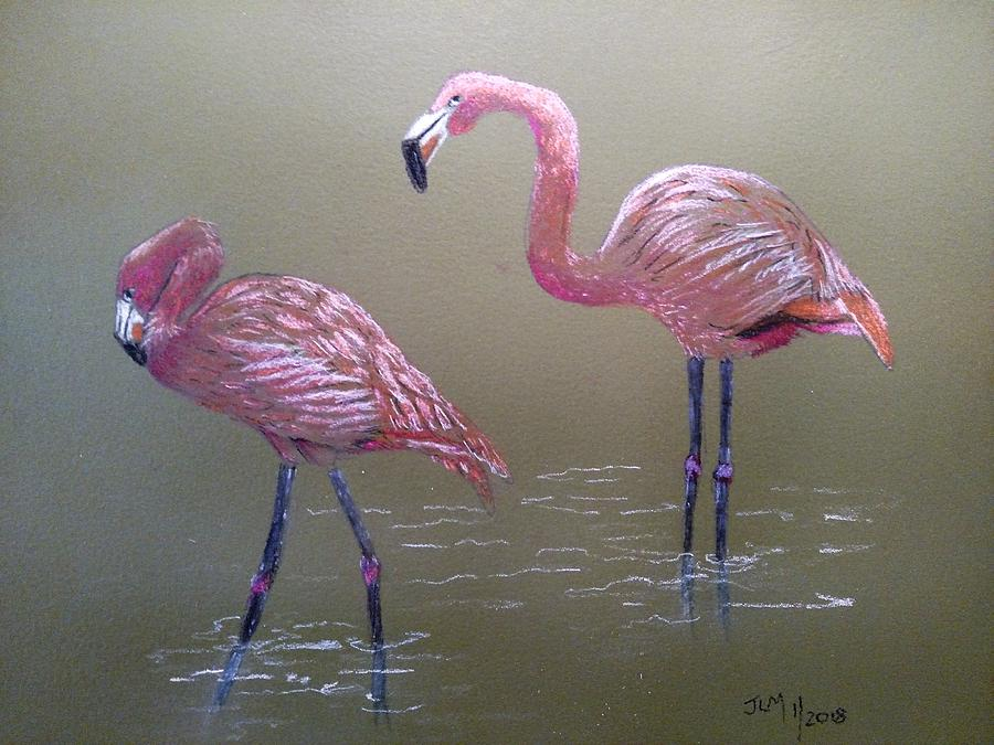 Flamingos Pastel - Standing Flamingos by Joan Mansson