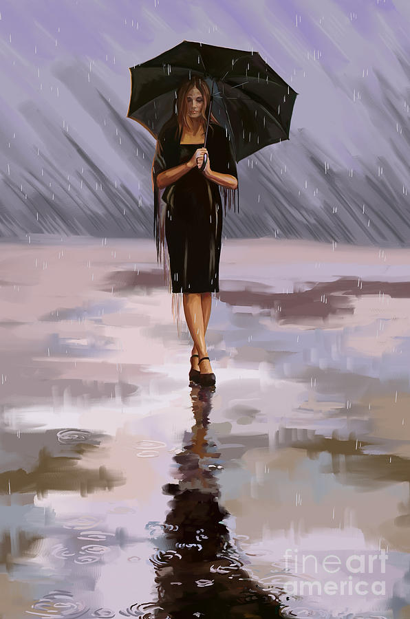 standing in the rain painting by tim gilliland
