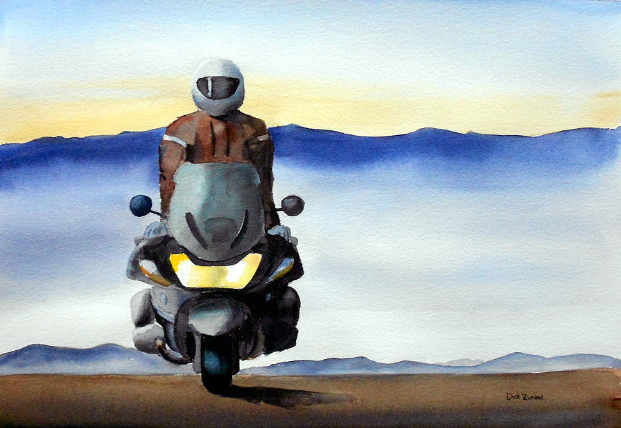Motorcycle Painting - Standing Room Only by Richard Zunkel