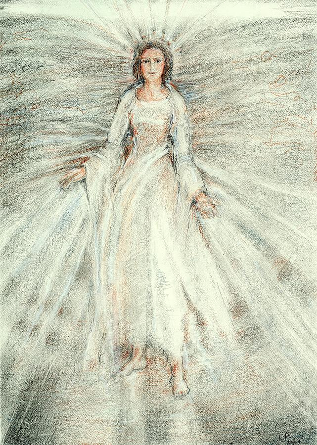 Standing Still Angel Drawing by Laurie Parker