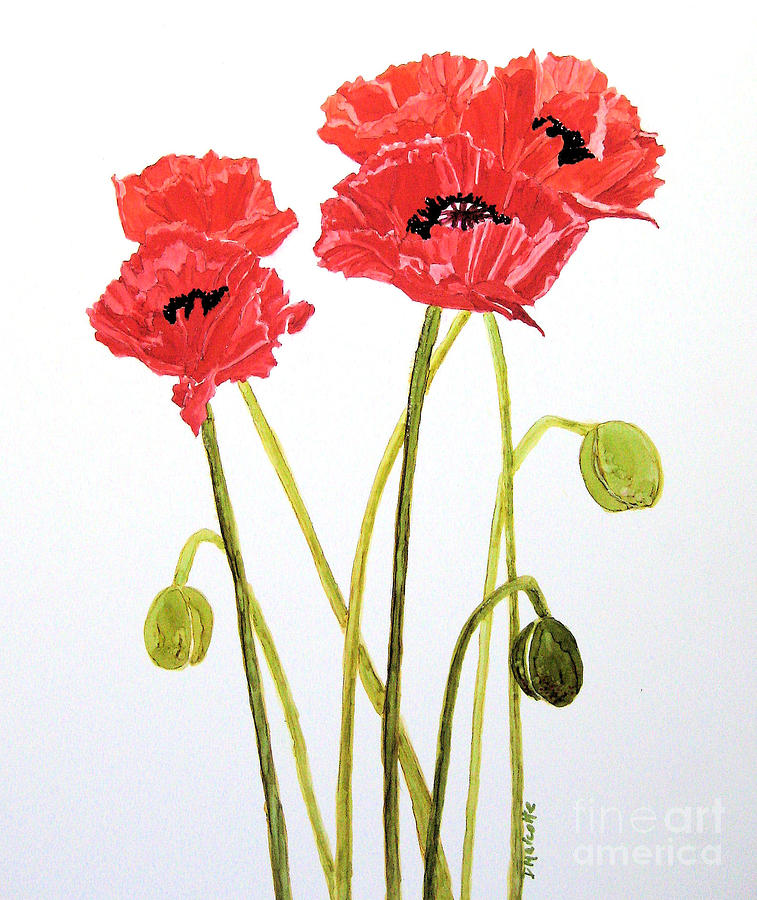 Poppy Painting - Standing Tall by Diane Marcotte