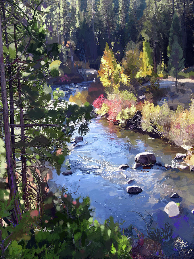 Stanislaus River In Fall Painting